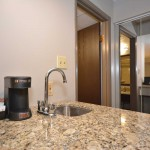 Poolside King Granite Counters, Coffee and Coffee Maker