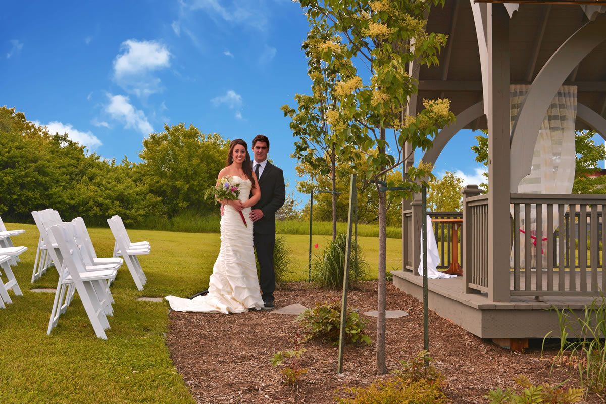 Gazebo with Bride and Groom