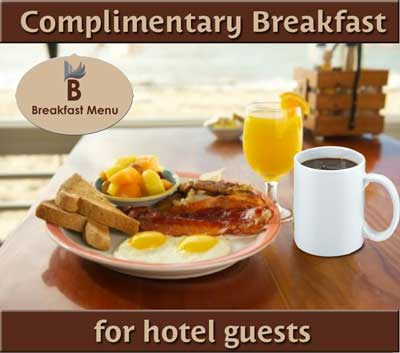 Complimentary Full Hot Plate Breakfast