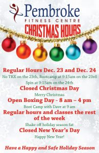Pembroke Fitness Centre Christmas Hours 2017