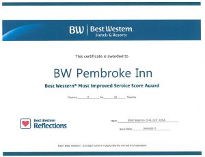 Best Western Award- most improved hotel