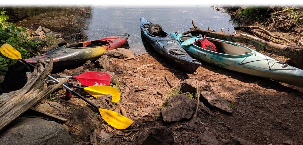Barron Canyon parked Kayaks