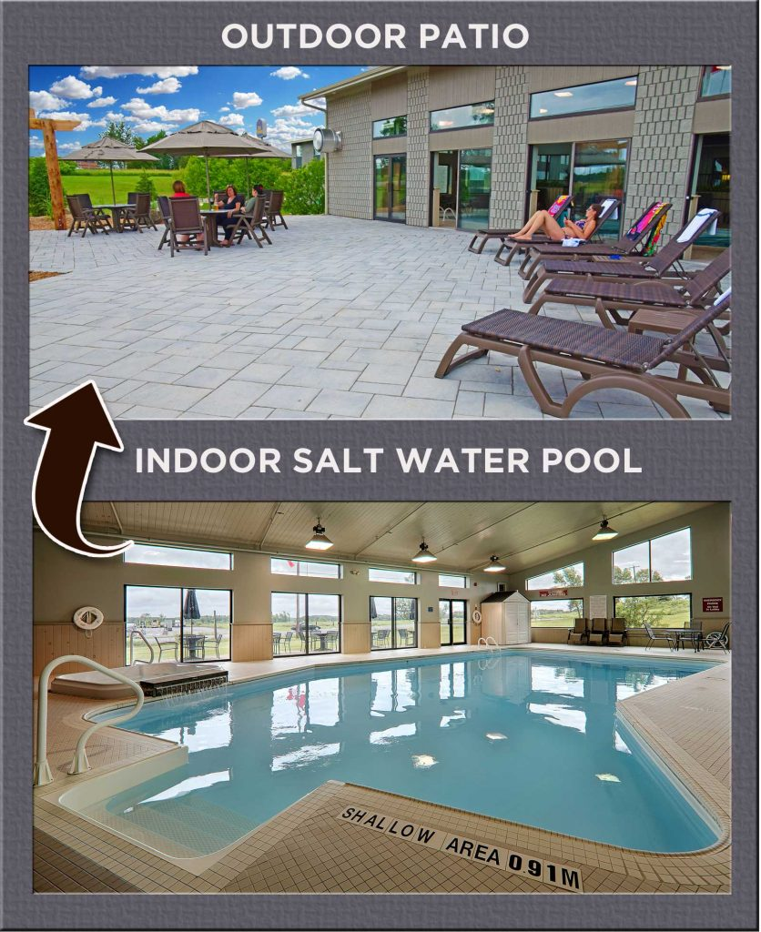 Indoor Salt Water Pool with Hot Tub and Outdoor Patio