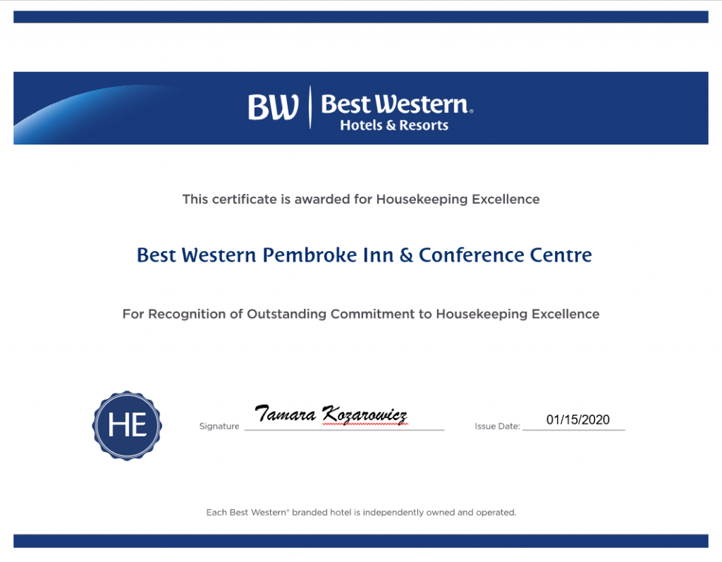 Best Western Pembroke Housekeeping Award