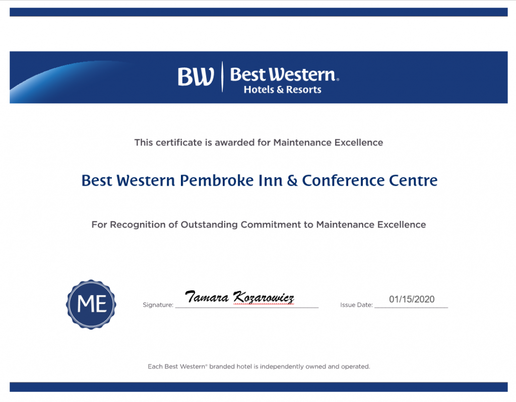 Best Western Pembroke Maintenance Award